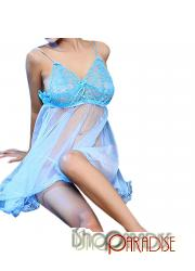 Blue set sleepwear erotic womens adult sexy party ladies Camisole Dress
