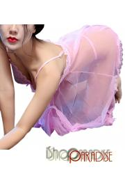 Pink ladies party cosplay sleepwear g string v neck sexy Camisole Dress