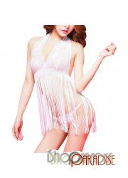White glamour vintage v neck g string sleepwear see through camisole set