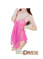 Hot Pink sleepwear cosplay g string sexy elegant lace camisole set