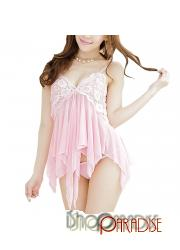 Pink g string elegant nightwear cosplay lace womens sex camisole set