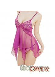 Purple erotic party sexy g string sleepwear sheer babydoll camisole set