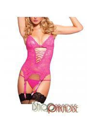 Pink Babydoll Crotchless Ladies galter belt lingerie bodystocking