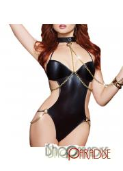 faux leather halter lingerie choker sexy nightwear Bodystocking
