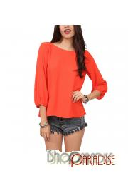 Orange summer.light weight casual sheer summer stylish wide neck Top