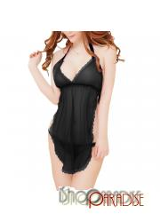Black womens sleepwear see through sexy nightwear ladies Camisole set