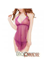 Purple sexy cosplay sheer sleepwear adult t back lace trim Camisole set