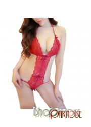 Red Sleepwear Womens Sexy Lingerie Nightwear Lace Bikini Bodystocking