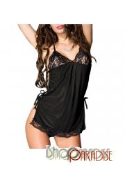 sexy Black see through babydoll ladies strappy lace sheer Camisole