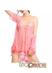Pink elegant adjustable strap see through long cardigan Camisole set