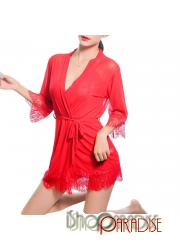 Red lace trim sheer Sexy sleepwear long cardigan elegant Camisole set