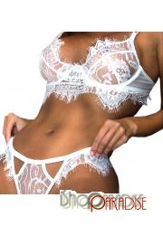 White sexy Womens adult ladies honeymoon floral g string Bras Set