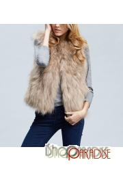 Camel womens new outerwear ladies sleeveless casual plush Faux Fur Vest