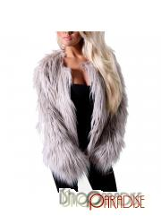 Grey jacket fluffy winter ladies fox Womens thigh length Faux Fur Coat