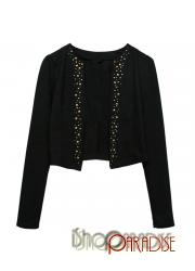 Black Stylish Womens New Modern Chic Beaded Sweater Cardigan Top