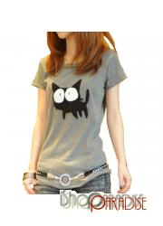 Grey Japan NEW Short Sleeve Ladies Junior Cat Print Top T Shirt
