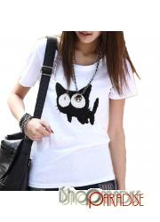 White Womens Face NEW Japan Ladies Blouse Cat Print Top T Shirt