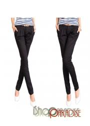 Black Bootcut Ladies Fitted Skinny Straight Leg Trousers Cargo Pants