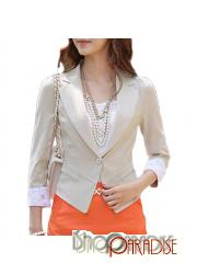 Beige Top Button Cropped Ladies Collar Boyfriend 3/4 Sleeve Blazer XS-L
