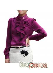 Dark Purple Work White Ladies Korea Silky Womens Shiny Ruffle Shirt Blouse Top