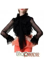 Black Gorgeous Chiffon Ruffle Prom Mesh Tie Neck Blouse Womens Top