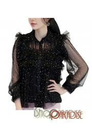 Prom Winter Sexy Shinny Sparkle Shirt See Through Party Summer Top