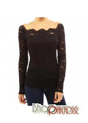 Black Blouse Woven Party Ladies Victorian See Through Square Neck Top
