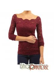 Red Blouse Square Neck Stretchy Ladies Comfy Casual Victorian Top