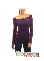 Purple Sexy Stretchy Fitted Ruffle Casual Ladies Off Shoulder Top