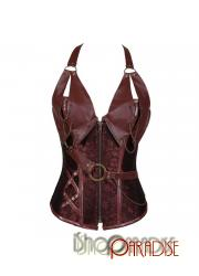 Brown sexy moulin overbust rouge satin western burlesque Womens Corset