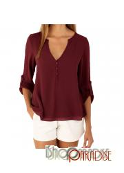 Red loose beach chiffon slouch Ladies comfy simple cover Tops