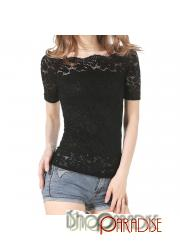 Black ladies short sleeve see through casual lace stretchy summer Top