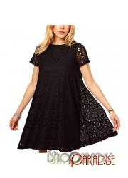 Black Womens Ladies Top Vintage Japan Crochet Lace Tunic Dress