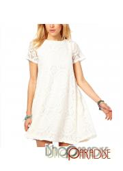 Casual White Crochet Vintage Summer Mini Japan Lace Tunic Dress
