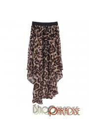 Leopard Summer High-Low Short-Long Chiffon Mullet Asymmetrical Long Skirt