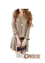 Khaki Cute Party Japan Casual Ladies Winter Belted Mini Dress Tunic Top