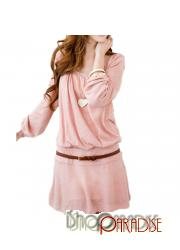 Pink Party NEW Korea Winter Japan Casual Belted Mini Dress Tunic Top