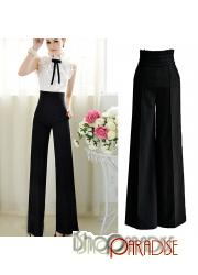 Vintage High Waist Dress Tailored Wide Leg Trousers Flare Pants