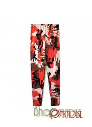 E Red Army Camouflage Patterned Print Footless Leggings Tights Pants
