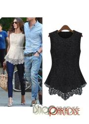 Black Summer Womens Vintage Shirt Crochet Top Sleeveless Lace Blouse