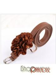 Brown Waist Thin Korea Party Womens NEW Faux Leather Flower Skinny Belt