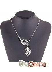 Silver womens metal nature leave jewellery natural party leaf Necklace