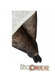 Black Vintage NEW Ladies Womens Crochet Pattern Lace Pantyhose Tights