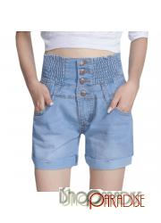 button Light Blue bermuda Womens Vintage pants high waist Shorts