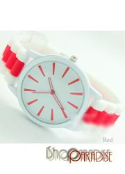 Red Womens Mens Gym Birthday Gift Jelly Two Tone Silicone Watch Unisex