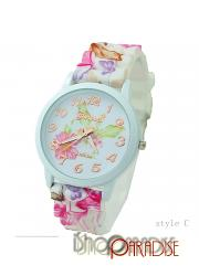 StyleC Rubber Band Students Womens Floral Wristwatches Silicone Watch
