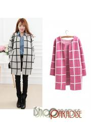 Pink Cardigan Long Top Womens Vintage Casual Plaid Jacket Cashmere Coat