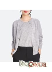 Grey Round Cashmere Ladies celebrity apparel Long Sleeved Womens Cardigan