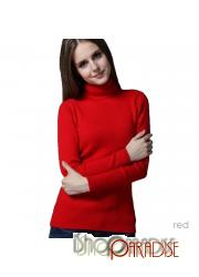 Red Warm Womens Comfy Thin Work Cashmere Roll Neck Jumper Wool Top