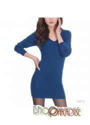 Navy Mini Unisex Long Sleeved Womens Cashmere Top V Neck Sweater Dress